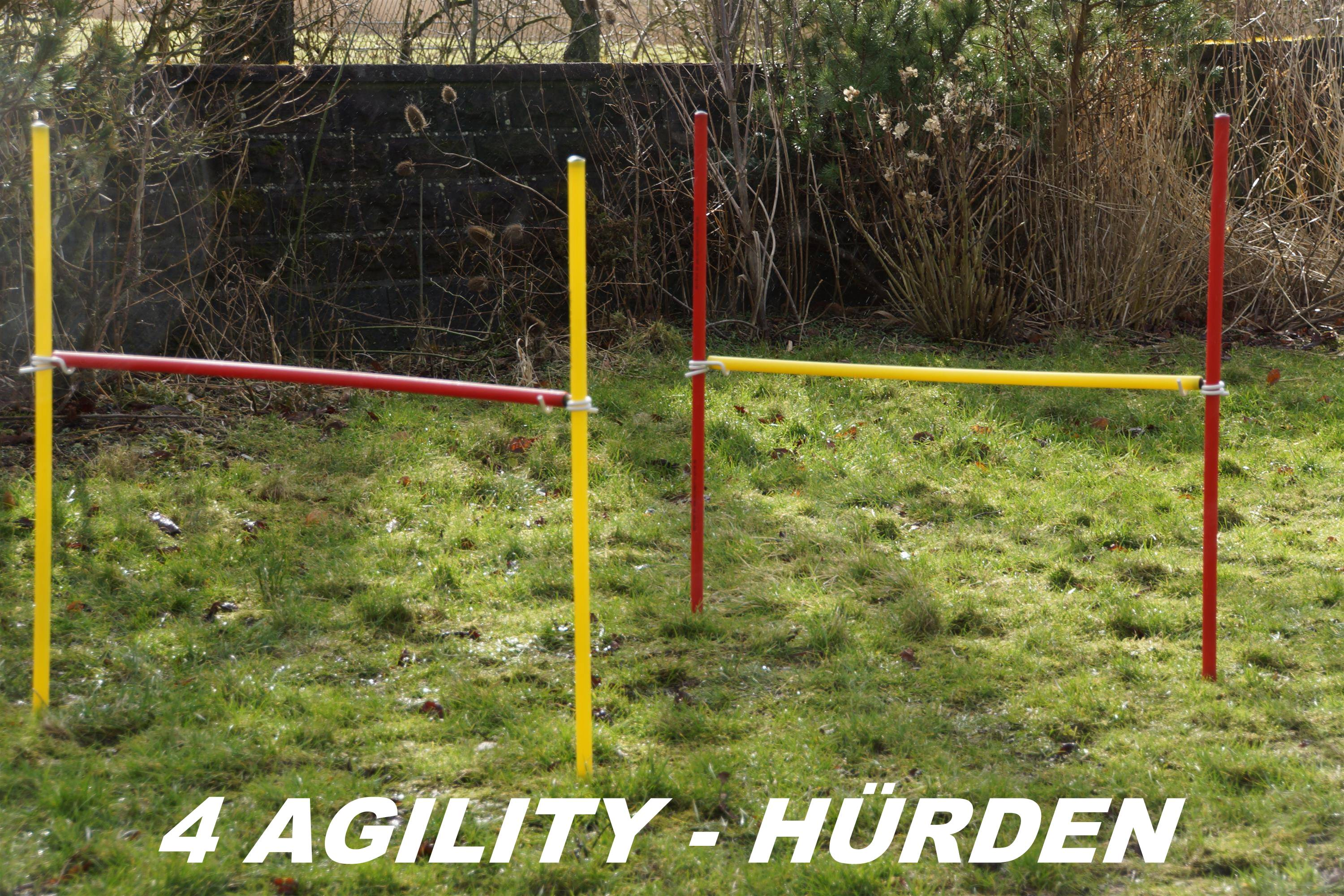 4 X AGILITY-ÜBUNGS-HÜRDEN-SET IN ROT/GELB
